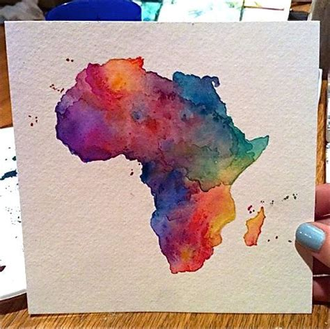 watercolor map tutorial a 6x6 quot watercolor painting of the outline of africa