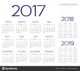 Calendario Colombia 2017 Y 2018 Vector De Calendario 2017 2018 2019 Espa 241 Ol Vector De