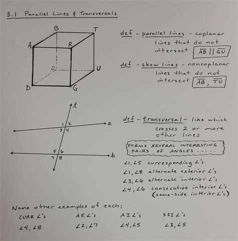 Lines Angles And Triangles Worksheet Answers by 3 1 Parallel Lines And Transversals Glass Geometry