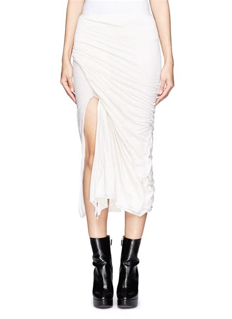 Rick Owens Lilies Layer Jacket by Lyst Rick Owens Lilies Layered Draped Slit Midi Skirt In