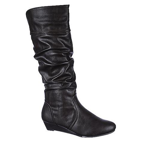 bamboo womens tamara 55 brown knee high wedge boots