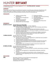 Sle Human Resources Generalist Resume by Human Resources Cv Exles Cv Templates Livecareer