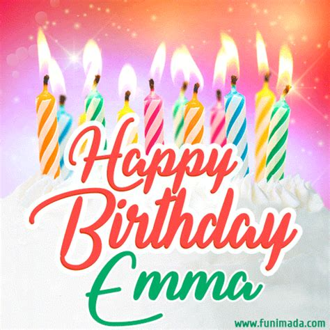 happy birthday gif  emma  birthday cake  lit candles   funimadacom