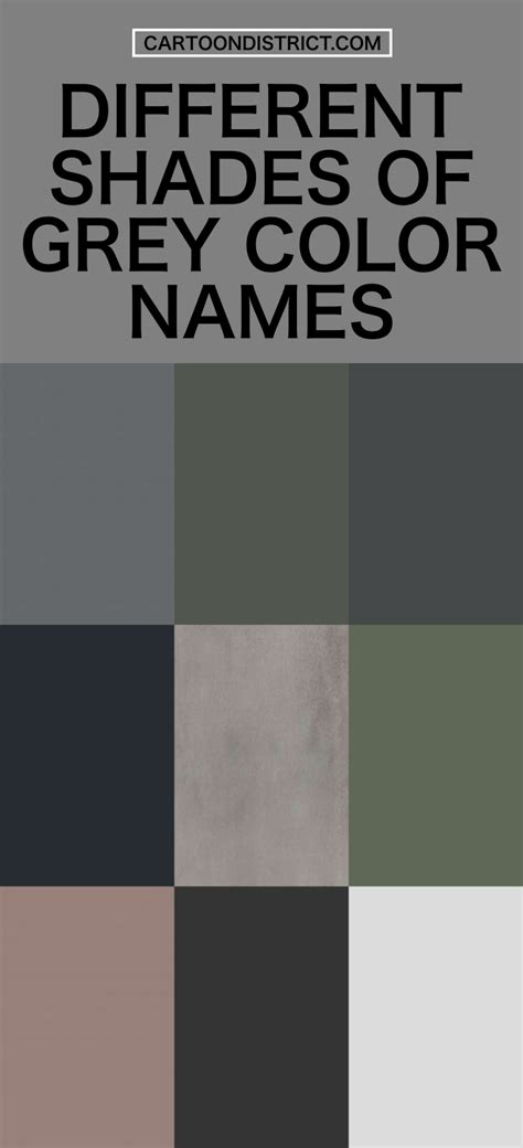shades of gray names 25 different shades of grey color names