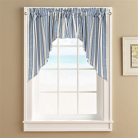 bed bath and beyond bathroom window curtains ropes window curtain swag valance in blue bed bath beyond