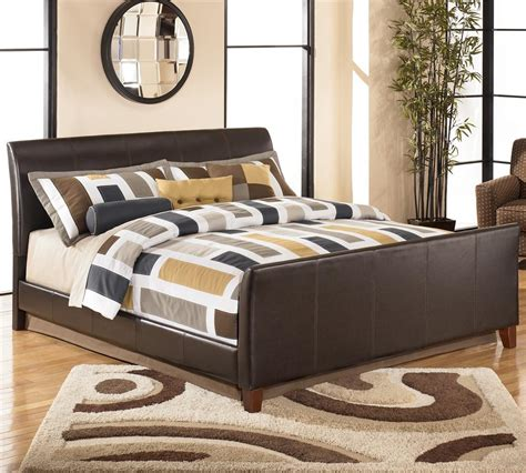 sleigh bed with leather headboard stanwick king faux leather upholstered sleigh bed