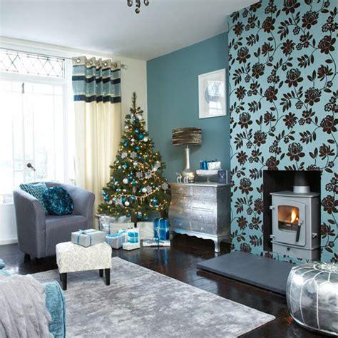 festive teal  silver living room scheme ideal home