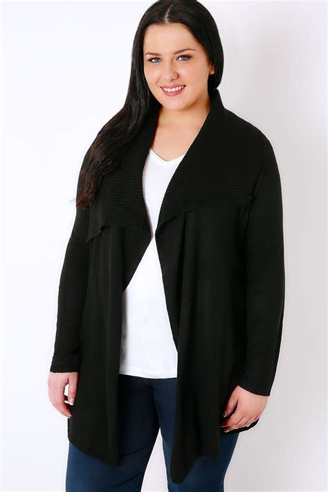 Ribbed Knit Cardigan black belted knit cardigan with ribbed collar plus size 16