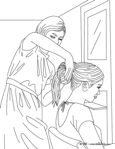having her hair done by a hairdresser coloring pages