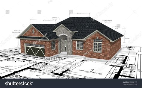 red house designs red brick house plans stock illustration 108942557 shutterstock