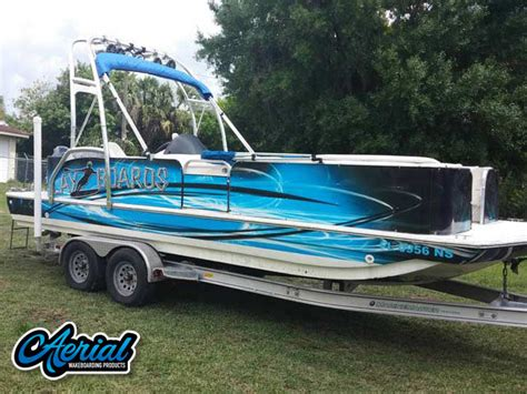 wakeboard tower for deck boat pontoon boat wakeboard tower the f250 pontoon wake tower