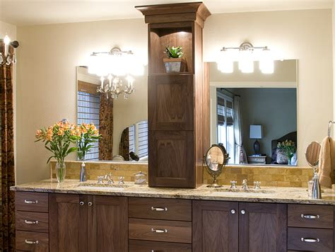 Product details walnut master bathroom vanity with tower on counte aura cabinetry building