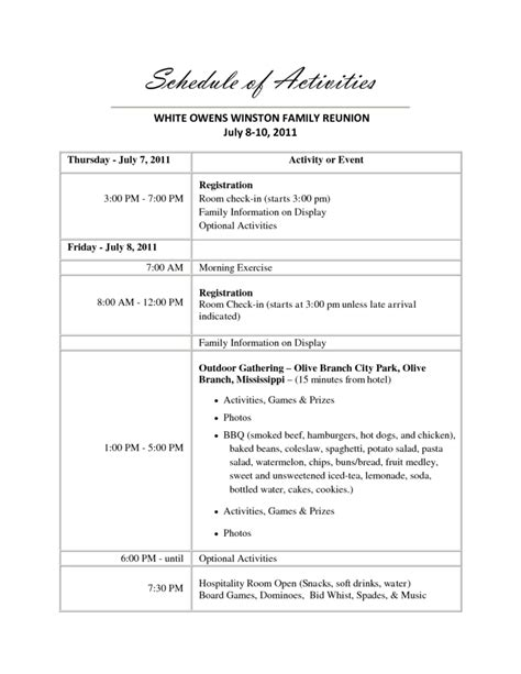 family reunion agenda template 1 best agenda templates