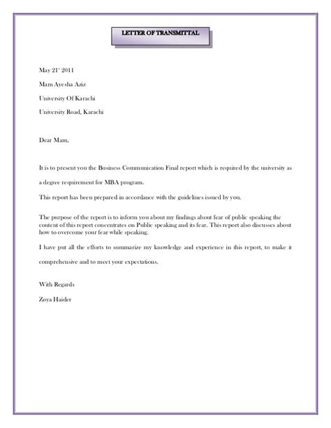 Transmittal Letter For Contract Letter Of Transmittal