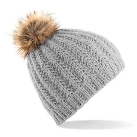 Pompom Beanie Hat faux fur pom pom beanie hat headwear bobble knitted
