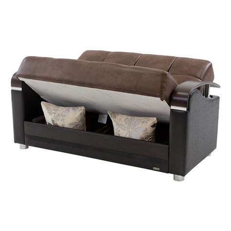 Peron Chocolate Futon Loveseat   El Dorado Furniture