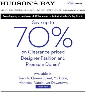 Hudson S Bay Canada Offers Save Up To 50 Select - hudson s bay canada save up to 70 on clearance priced