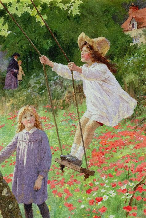 late swing bumble button darling children on swings in art and illustrations late 1800 s to early 1900 s