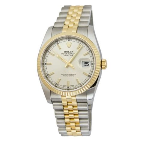 Rolex Ro147 Yellow Silver rolex oyster perpetual datejust 36 silver stainless steel and 18k yellow gold jubilee
