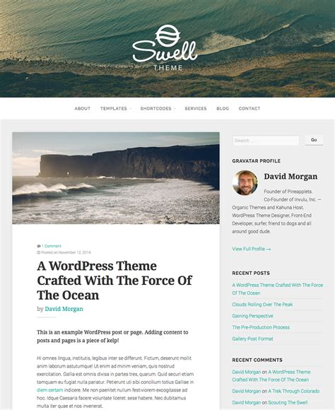 free wordpress blog themes swell theme free wordpress theme a free wordpress blog