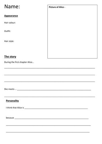 character biography template ks2 character profiles of alice in wonderland by 4877jessie