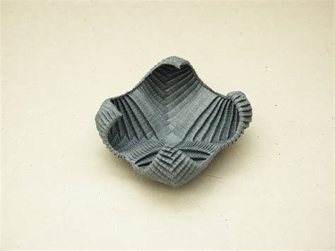 Folded Paper Bowl - organic origami gallery pureland or pleat tessellations