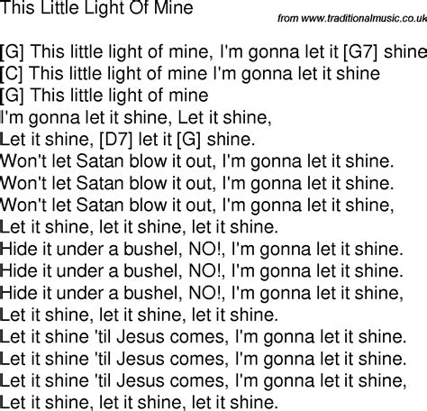 this light of mine lyrics gospel song lyrics with chords for this light of