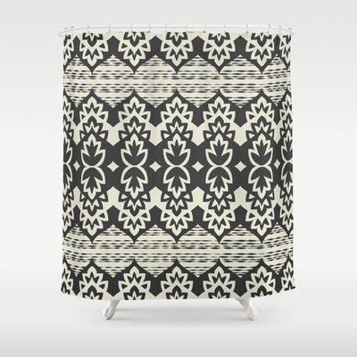 black and cream shower curtain bohemia black cream shower curtain by from society6