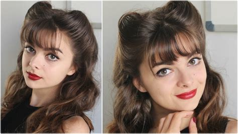 pin up hairstyle bangs amp victory rolls tutorial youtube