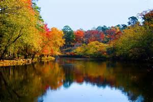 reflection autumn colors landscape trees