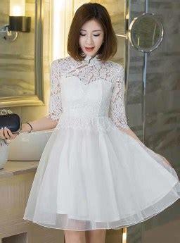 Bextjb Dress Putih Dress Lace Dress Brukat Dress Cheongsam Dress Pesta dress pesta brokat putih 2017 jual model