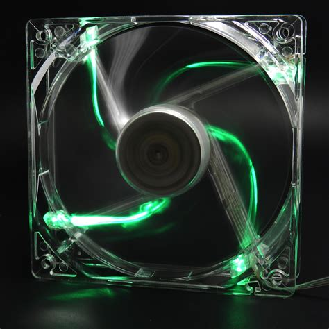 green led computer fan green quad 4 led light neon quite clear 120mm pc computer