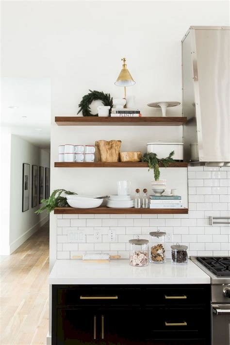 white kitchen with wood shelves white kitchen with wood