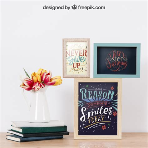 cornici per muro mockup di cornici su muro e libri scaricare psd gratis