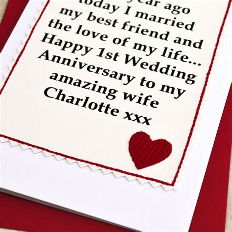 1st Wedding Anniversary Ideas To Make by Personalised 1st Wedding Anniversary Card By Arnott
