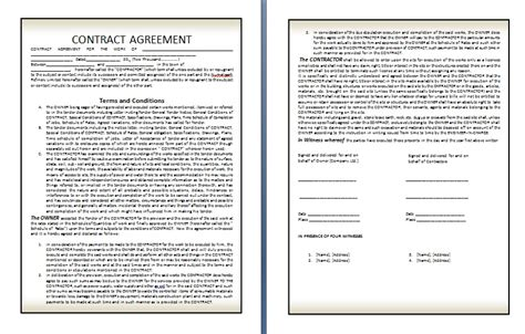 terms of agreement contract template qualified contract agreement template exle in two page