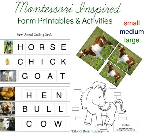montessori printables animals montessori farm activities farm theme unit study free