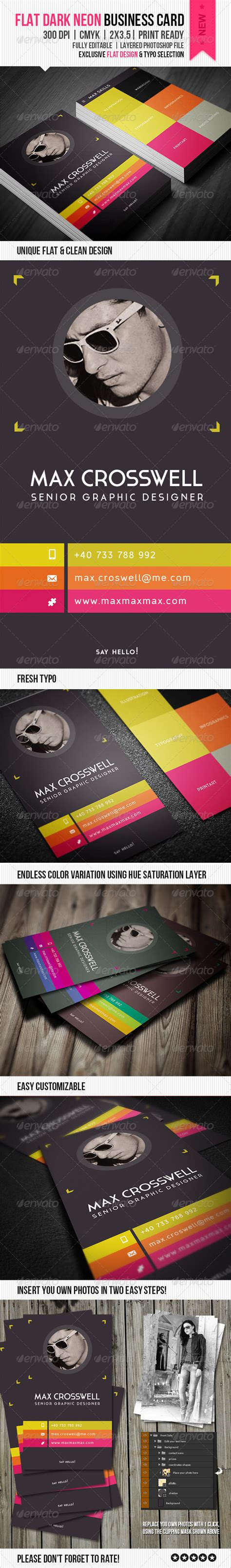 neon business cards templates flat neon business card graphicriver