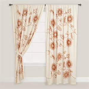 Floral Curtains Embroidered Floral Cotton Curtains Set Of 2 World Market