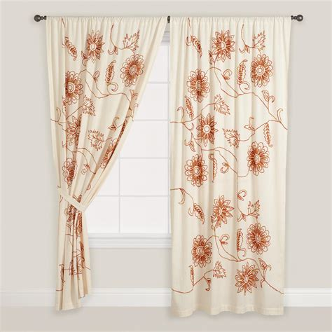 floral draperies embroidered floral cotton curtains set of 2 world market