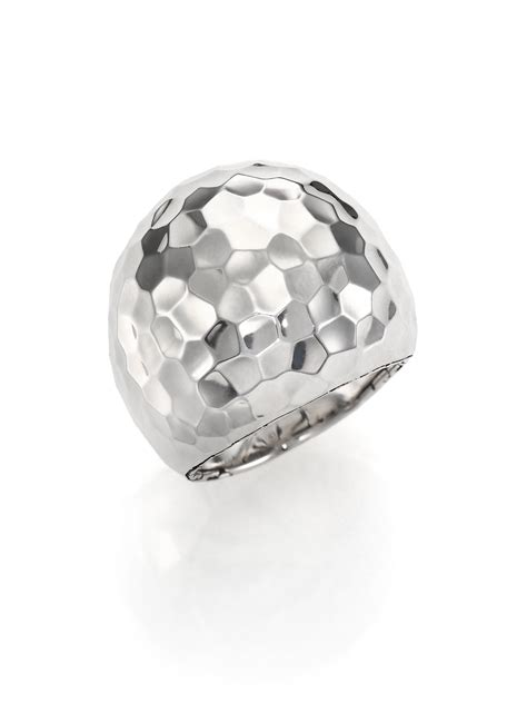 hardy palu sterling silver dome ring in metallic lyst