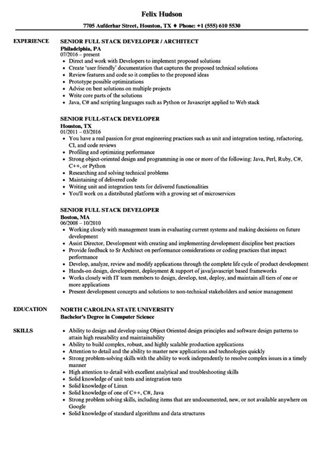 Stack Developer Resume by Senior Stack Developer Resume Sles Velvet