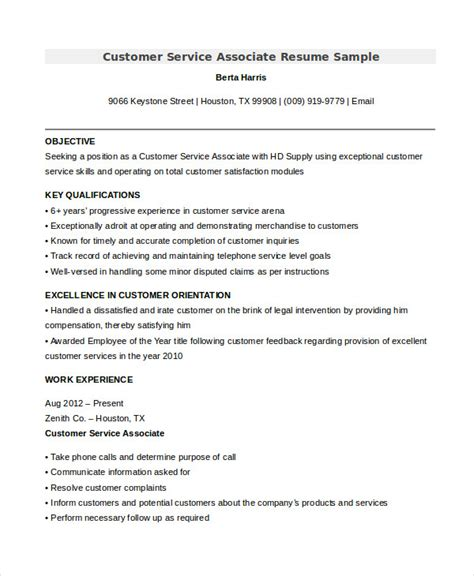 Resume Sles For Customer Service Associate Customer Associate Resume