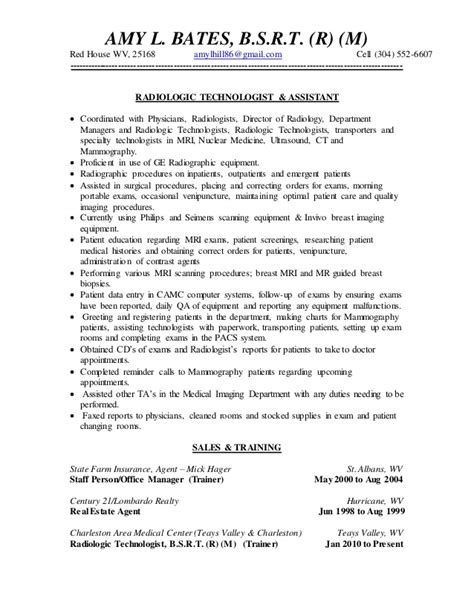 Radiology Resume by Bates Resume 2014