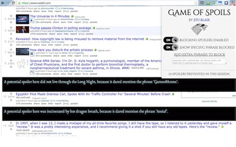 A Place Spoilers Reddit Of Spoils The Plugin That Shields You From Of Thrones Spoilers Cool