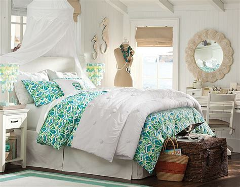 pbteen bedrooms seahorses pbteen bedroom white blue culture scribe