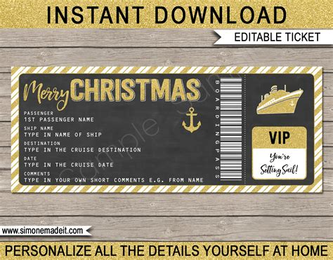 christmas cruise ticket gift template christmas present fake boarding pass