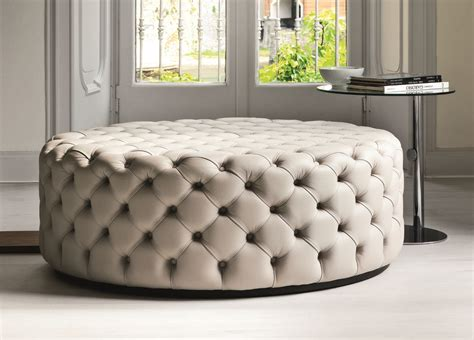 Luxury Livingroom by Porada Alcide Round Pouf Porada Furniture At Go Modern