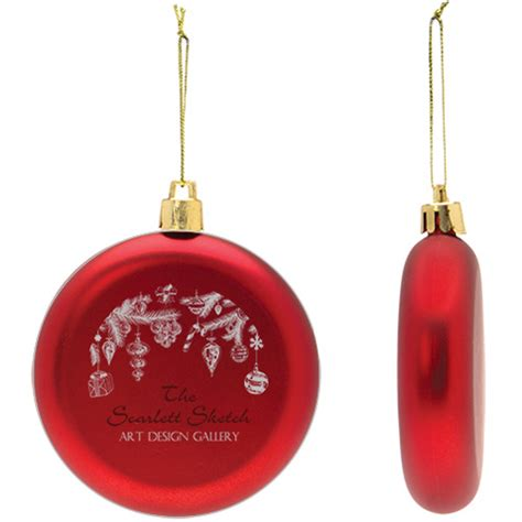shatter resistant flat round ornament promotional