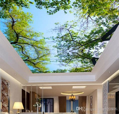 3d wallpaper custom photo non woven mural wall sticker 3 d green trees and blue sky ceiling